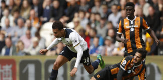 Andrea Ranocchia tackles for his English club Hull City