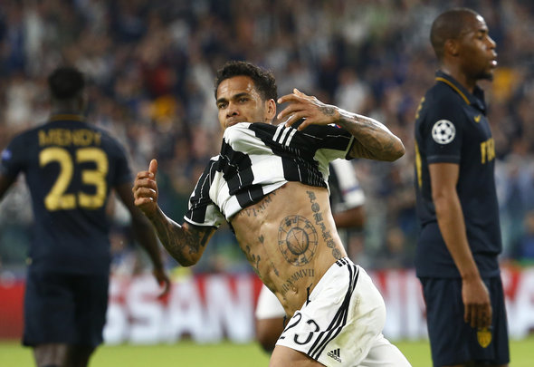 Dani Alves celebrates scoring a goal for his Italian club Juventus