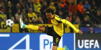 Pierre-Emerick Aubameyang controls the ball for his German club Borussia Dortmund