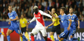 Tiemoue Bakayoko fends off a defender for his French club Monaco