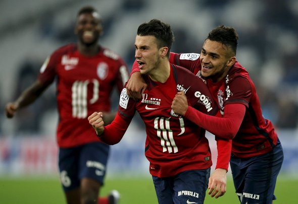 Sebastien Corchia of Lille celebrates scoring a goal