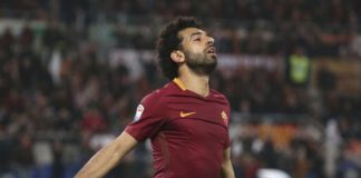 Mohamed Salah of ROma celebrates scoring a goal