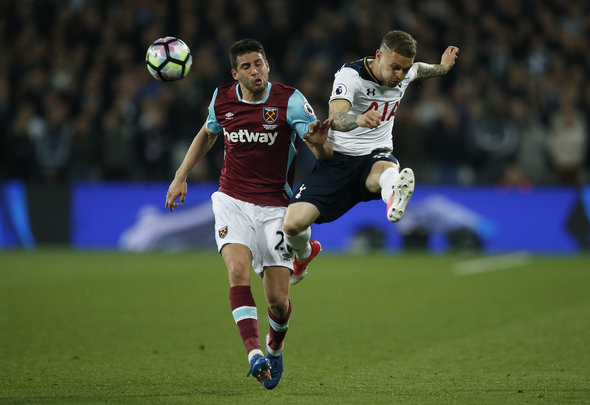 Kieran Trippier makes a clearance for his English club Tottenham