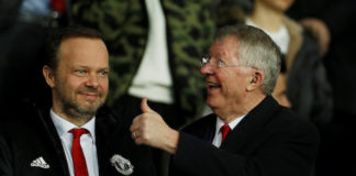 Manchester United chief Ed Woodward with Sir Alex Ferguson