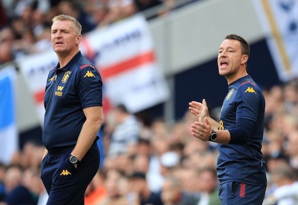 Aston Villa manager Dean Smith and assistant John Terry