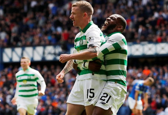 Jonny Hayes and Olivier Ntcham celebrate for Celtic