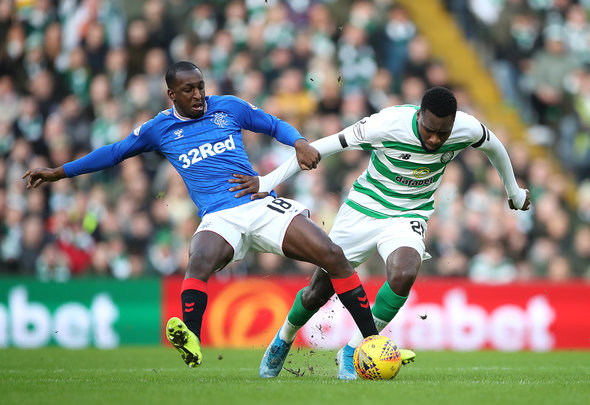 Celtic striker Edouard battles with Rangers star Kamara
