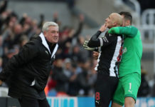 Newcastle United manager Steve Bruce celebrated with Jonjo Shelvey