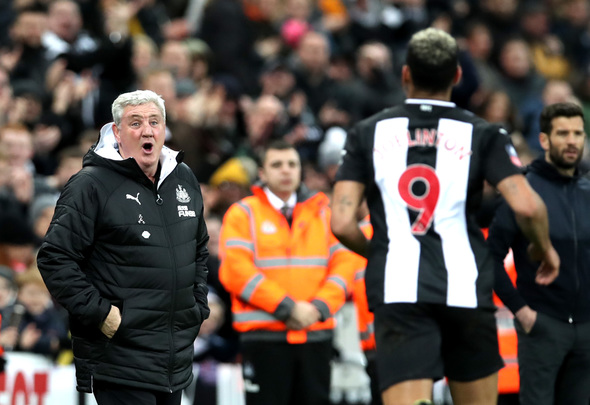 Newcastle United manager Steve Bruce reacts to Joelinton