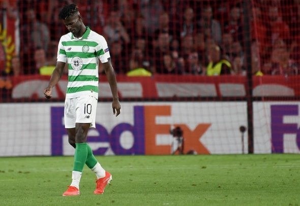Vakoun Bayo looks sad for Celtic
