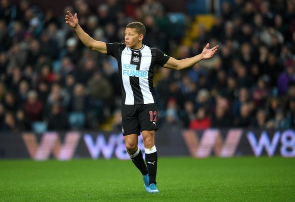 Dwight Gayle protests for Newcastle United