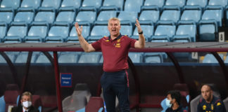 Aston Villa manager Dean Smith exclaims