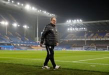 Leeds United manager Marcelo Bielsa at Goodison Park