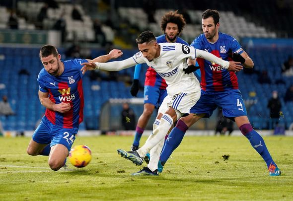 Leeds United winger Raphinha takes a shot v Crystal Palace