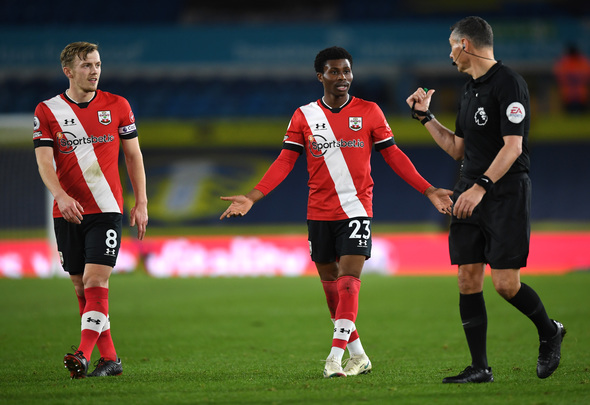 Southampton winger Nathan Tella reacts against Leeds United