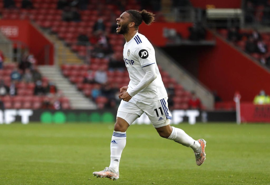 Leeds' Tyler Roberts celebrating a goal